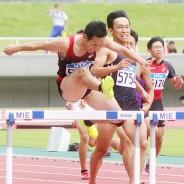 陸上県、男子400H・柳本選手