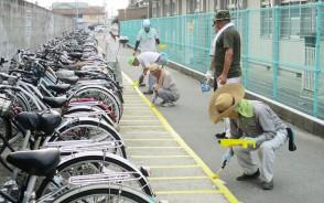 190806揥水老連が駐車枠を引き直す