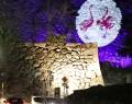 210318松坂城に対い鶴の紋ライトアップ